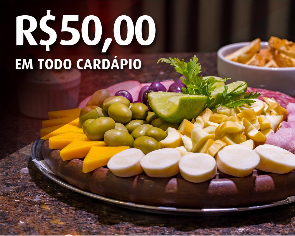 R$50,00 no cardápio