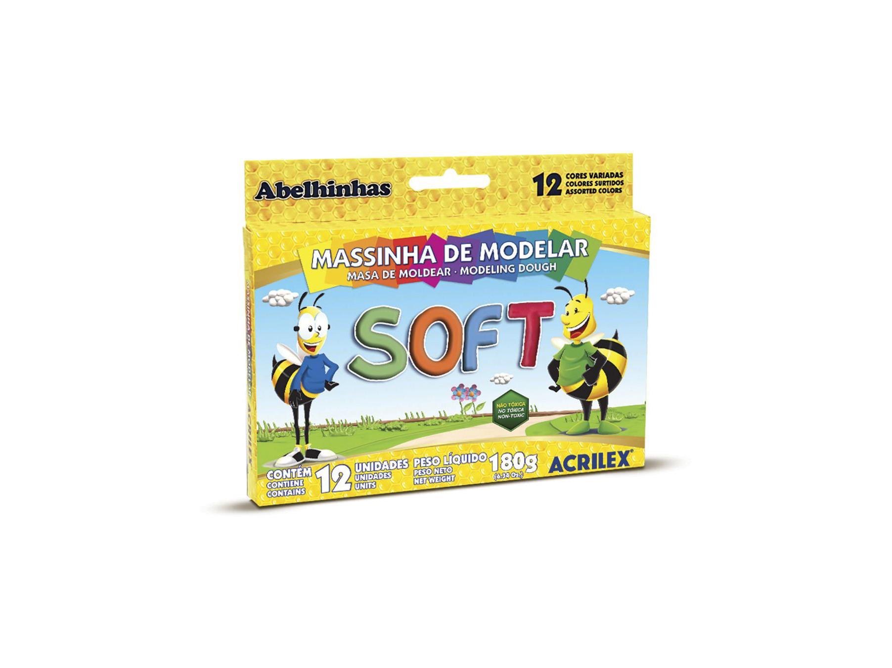 MASSINHA DE MODELAR C/12 CORES 180G - ACRILEX