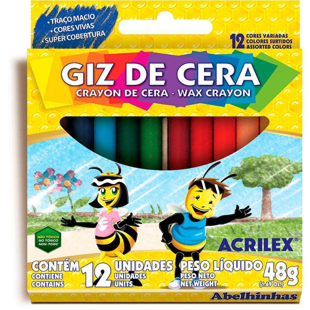 GIZ DE CERA COM 12 CORES ACRILEX