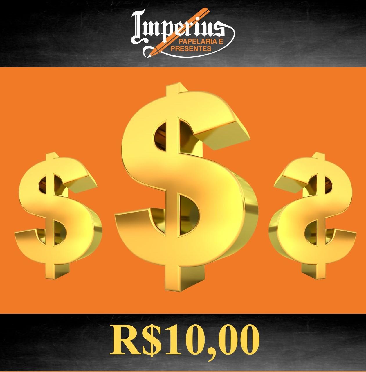 Crédito de R$ 10,00 em compras na Imperius Papelaria e Presentes