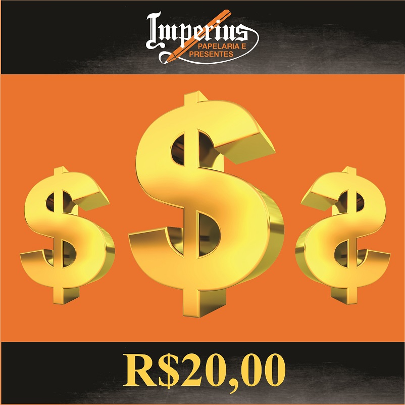 Crédito de R$ 20,00 em compras na Imperius Papelaria e Presentes