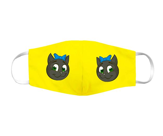 Máscara de tecido divertida amarela com a mascote LAIA - 150 pontos