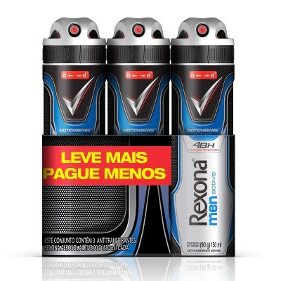 Imagem 1 do produto Desodorante Aerosol Rexona Active 3 Unidades