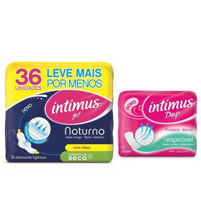 Imagem 1 do produto Compre Absorvente Intimus Gel Noturno Seca com 36 e ganhe Protetor diário  Intimus Days sem perfume com 15
