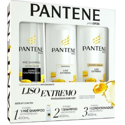 Imagem 1 do produto Kit Pantene Liso Extremo Pré Shampoo 400ml + Shampoo 400ml + Condicionador 400ml