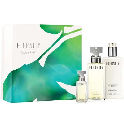 Imagem 1 do produto Eternity Calvin Klein - Feminino - Eau de Parfum - Perfume + Loção Corporal + Miniatura - Kit