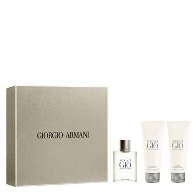 Imagem 1 do produto Acqua Di Gio Pour Homme Giorgio Armani - Masculino - Eau de Toilette - Perfume + Gel de Banho + Loção Pós Barba - Kit