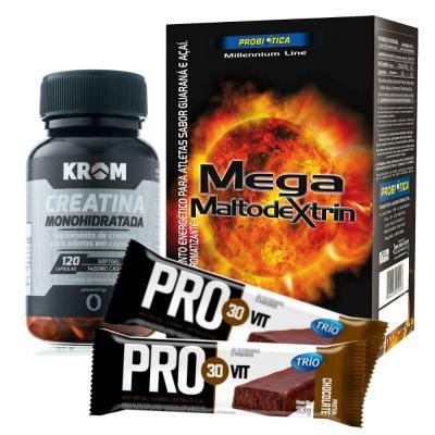 Imagem 3 do produto Kit Creatina Monohidratada 120 Cápsulas + Mega Maltodextrin Guaraná e Açaí 1kg + Barra Trio Pro 30 Vit Chocolate 33g
