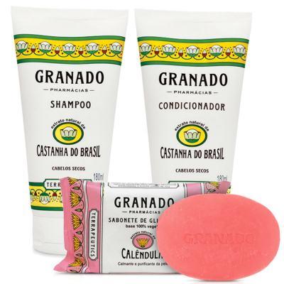 Imagem 1 do produto Kit Granado Shampoo + Condicionador Castanha Do Brasil 180ml + Sabonete Glicerinado 90g
