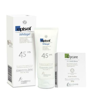 Kit Protetor Solar Episol Whitegel Fps 45 60g + Sabonete Facial Glycare Barra 90g