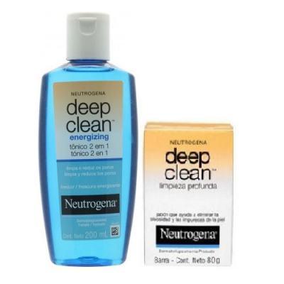 Tônico 2 Em 1 Energizing Neutrogena Deep Clean 200ml + Neutrogena Sabonete Facial Deep Clean Energizante 80g