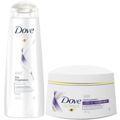 Kit Dove Pós Progressiva Shampoo 400ml + Creme De Tratamento 350g