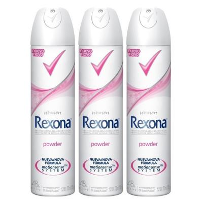 Kit Desodorante Aerosol Rexona Powder Feminino 105ml 3 Unidades