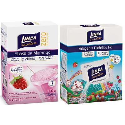 Imagem 1 do produto Shake Linea Morango 400g + Adoçante Linea Pó 8g 50 Envelopes
