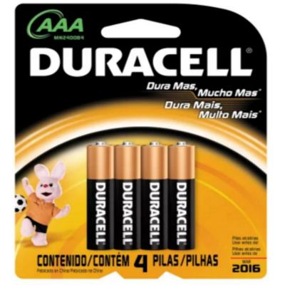 Pilha Duracell Palito AAA com 4 Unidades