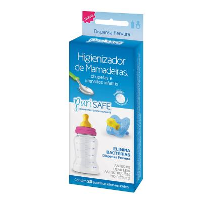 Higienizador De Utensílios Infantis Purisafe 20 Pastilhas Efervescentes