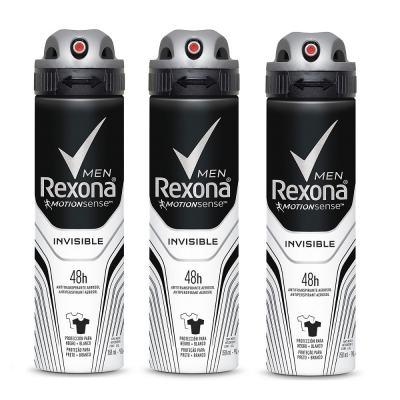 Kit Desodorante Rexona Aerosol Invisible 90g 3 Unidades
