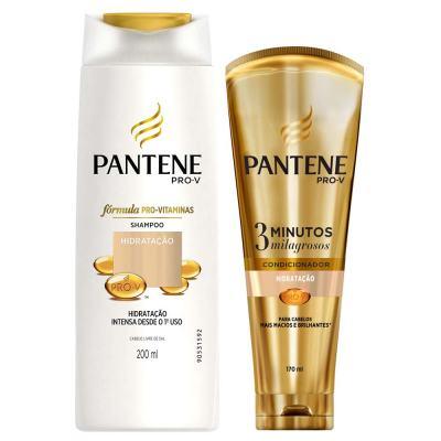 Kit Pantene Hidratação Shampoo 200ml + Condicionador 3 Minutos Milagrosos 170ml