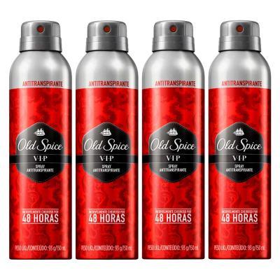 Imagem 1 do produto Kit 4 Desodorante Old Spice Antitranspirante Spray VIP 150ml