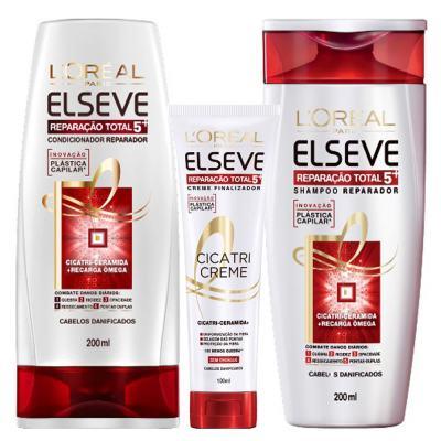 Kit Cicatri-Creme + Shampoo + Condicionador L'Oréal Paris Elseve Reparação Total 5+ - Kit
