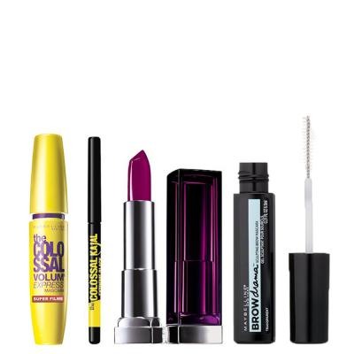 Imagem 1 do produto Kit Maybelline - Máscara Volum' Express + Lápis Kajal + Batom 402 + Máscara Brow Drama - Kit