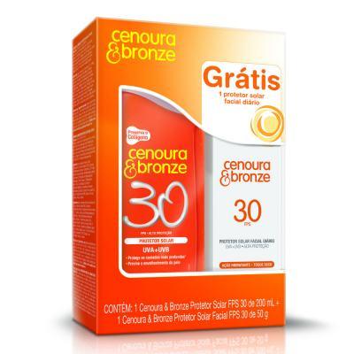 Kit Protetor Solar Cenoura & Bronze FPS 30 200ml + Protetor Solar Facial Cenoura & Bronze FPS 30 50g