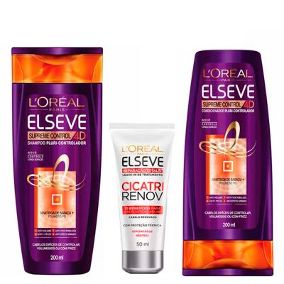 L'Oréal Paris Elseve Supreme Control 4D Kit - Shampoo + Leave-In + Ganhe Condicionador - Kit