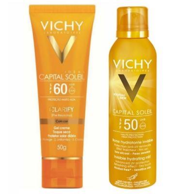 Protetor Solar Vichy Capital Soleil Clarify FPS60 50g + Hidratante Corporal Vichy FPS 50 200ml Capital Soleil Bruma