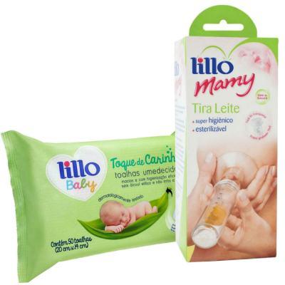 Kit Bomba Tira Leite Lillo Mamy + Toalhas Umedecidas Lillo Baby 50 Unidades