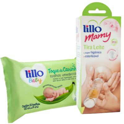 Imagem 1 do produto Kit Bomba Tira Leite Lillo Mamy + Toalhas Umedecidas Lillo Baby 50 Unidades