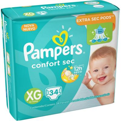 Imagem 1 do produto Fralda Descartável Pampers Confort Sec XG 34 Unidades