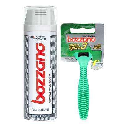 Imagem 1 do produto Kit Bozzano Espuma de Barbear Pele Sensível 190g + Aparelho de Barbear Speed 3