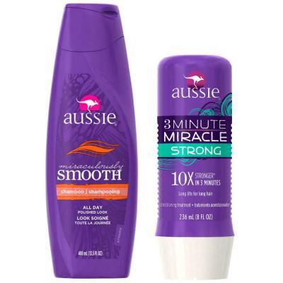 Kit Shampoo Aussie Smooth 400ml + Tratamento Capilar Aussie Strong 3 Minutos Milagrosos 236ml