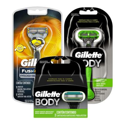 Kit Gillette Aparelho Barbeador Proglide Pro Shield + Aparelho Body + 2 Cargas
