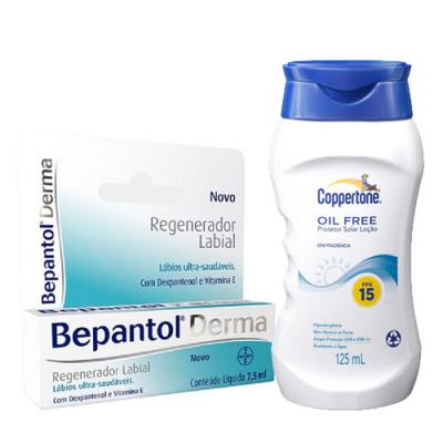 Bepantol Regenerador Labial Derma 7,5ml + Protetor Solar Coppertone Oil Free FPS 15 125ml
