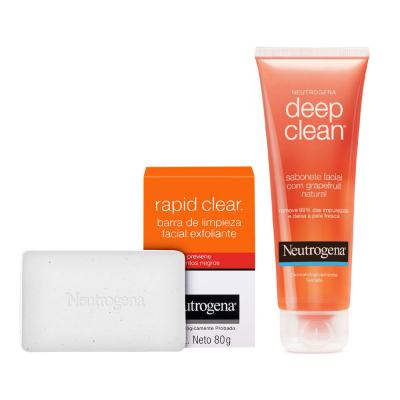 Neutrogena Deep Clean Em Gel Grapefruit 150g + Sabonete Esfoliante Facial Neutrogena Rapid Clear 80g