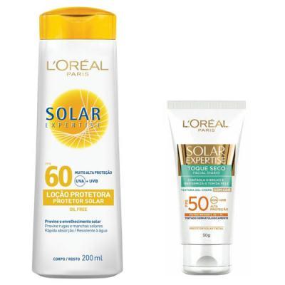 Protetor Solar L'Oréal Expertise FPS 60 e Facial Toque Seco com Cor FPS 50