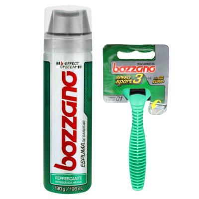 Imagem 1 do produto Kit Bozzano Espuma de Barbear Refrescante 190g + Aparelho de Barbear Speed 3
