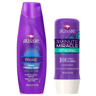 Kit Shampoo Aussie Moist 400ml + Tratamento Capilar Aussie Strong 3 Minutos Milagrosos 236ml