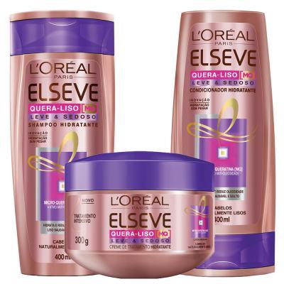 Imagem 1 do produto Kit Shampoo + Condicionador + Creme de Tratamento L'Oréal Paris Elseve Quera-Liso Leve e Sedoso - Kit