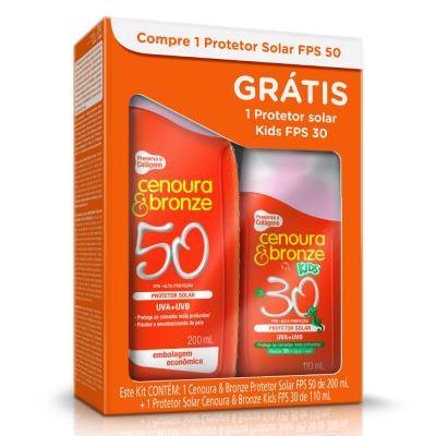 Kit Protetor Solar Cenoura & Bronze FPS 50 200ml + Protetor Solar Kids FPS 30 110ml