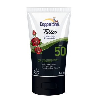 Protetor Solar Coppertone Tattoo Loção FPS 50 60ml