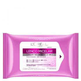 Lenço Micelar de Limpeza 5 em 1 L'Oréal Paris - Lenços Demaquilantes - 25 Un