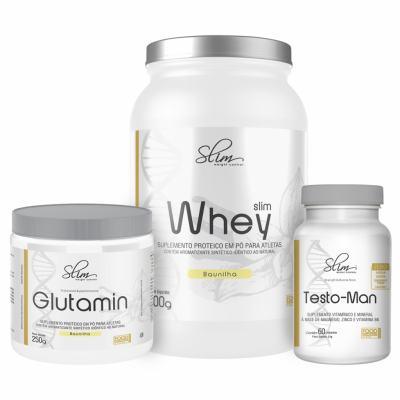 Kit Slim Whey Baunilha 900g + 01 Testo-man 60 Cáps + 01 Glutamin 250g - Slim -