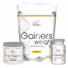 Kit Slim Gainers Weight Baunilha 3kg + 01 Pré Treino 250g + 01 Creatina Pura 100g - Slim -