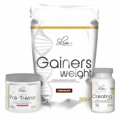 Kit Slim Gainers Weight Chocolate 3kg + 01 Pré Treino 250g + 01 Creatina Pura 100g - Slim -
