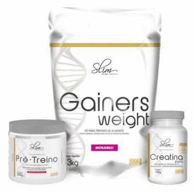 Kit Slim Gainers Weight Morango 3kg + 01 Pré Treino 250g + 01 Creatina Pura 100g - Slim -