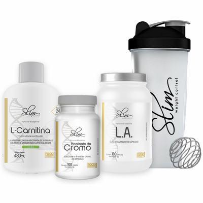 Kit Slim L-carnitina 480ml + Picolinato De Cromo 100caps + óleo De Cartamo 100caps + Coqueteleira - Slim -