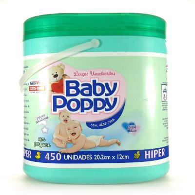 Lenço Umedecido Baby Poppy Verde 450 Unidades
