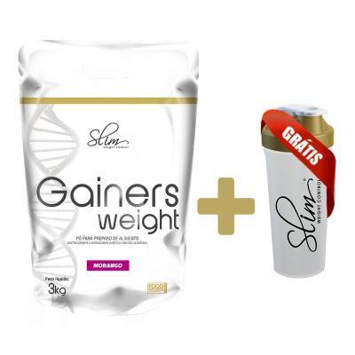 Gainers Weight Refil 3k - Slim - Morango Gratis Uma Coqueteleira. -